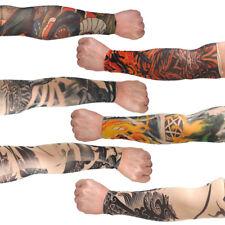 6pcs Men Temporary Fake Tattoo Slip On Stretch Seamless Arm Sleeves Stocking kit
