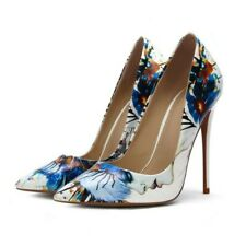 Women High Heel Stiletto Patent Leather Floral Print Party Pointy Toe Shoes Sexy
