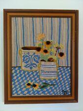 Vintage framed art crewelwork homespun embroidery on burlap signed in yarn 84