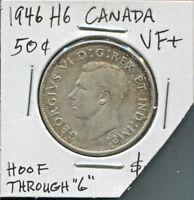 CANADA - BEAUTIFUL HISTORICAL RARE GEORGE VI SILVER 50 CENTS, 1946 (HOOF THRU 6)