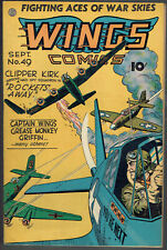WINGS  COMICS  49  FN+/6.5  - Cool WWII cover from 1944!