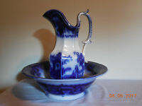 OREGON FLOW BLUE PITCHER AND BASIN BY T J MAYER