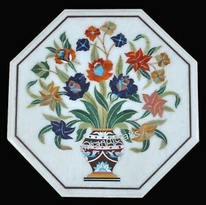Marble Coffee Table Top Inlay Bed Side Table with Multi Gemstones Art 15 Inches