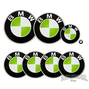 For BMW Badges - Gloss Lime Green - All Models Decals Wrap Stickers Overlays