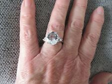 LARGE OVAL PETALITE RING-SIZE O-4.00CTS-WITH PLATINUM