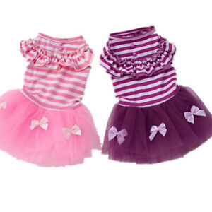 Sweet Stripe Bow Pet Dog Dress Lace Princess Tutu Skirt Puppy Cat Dresses Poodle