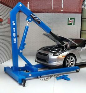 G 1:24 Scale Model Engine Hoist Lift & Spreader Repair Garage Dioramas 1:18 Blue