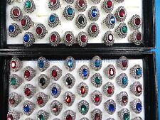 US SELLER-20 ring large rhinestone retro vintage jewelry wholesale ring bulk