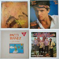 4x Spanish / world LPs. María Dolores, Miguel Bose, Paco Ibanez, Lucio Barbosa