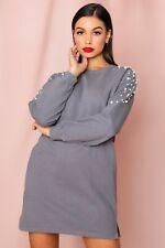Pearl Embellished Acid Wash Sweater Dress