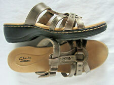 CLARKS COLLECTION LEATHER STRAPPY SANDALS SLIDES - BRONZE - 10M