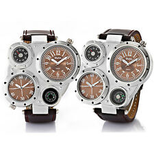 Oulm Military Army Sports Dual Time Quartz Watch Men's Leather Wristwatches