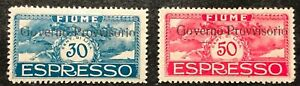 Fiume Special Delivery Stamps #E10-E11 MH Complete Set 1921