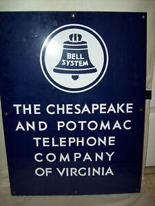 Original 18x24 Chesapeake & Potomac Telephone Co. Bell System Porcelain Sign