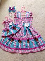 New Handmade Doc McStuffins #2 Dress Toddler/Girls (2T-9/10) HairBow,Doll Dress