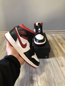 ✅ Nike Air Jordan 1 Mid GS Gym Red Black White 37.5 US5Y New DS Fast Shipping ✅