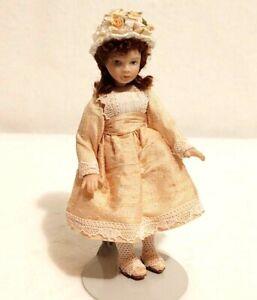 "Porcelain Doll 5/"" Dollhouse 1:12 Blonde Child Winter Scarf Hat Jeans Adjustable"