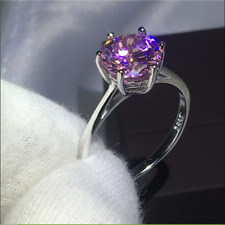 2Ct Round Cut Pink Sapphire Solitaire Engagement Ring 14K White Gold Finish