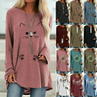 Womens Lady Long Sleeve Tunic T-Shirt Blouse Causal Pullover Top Tee Relax Shirt