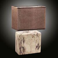 Keramik Tischleuchte mit Stoffschirm braun eckig Tischlampe Nachttischlampe 40W