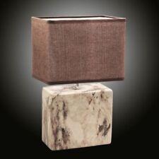 Log Marmor Tischleuchte 32cm mit Stoffschirm braun rund Nachtkommode Lampe