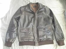 ASOS BROWN LEATHER A 2 FLYING JACKET,FLIGHT BOMBER,SIZE MEDIUM,AVIATION STYLE