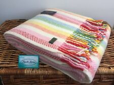 TWEEDMILL TEXTILES PURE WOOL RAINBOW YELLOW PINK BLUE CANDY STRIPE BLANKET THROW
