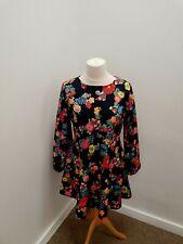 SIMPLY BE - BLACK FLOWERY SKATER STYLE DRESS - UK 14