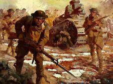 PAINTINGS LANDSCAPE MILITARY BATTLE TANK SOLDIER ART POSTER PRINT LV3218