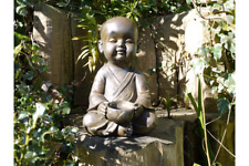 Large Garden Buddha Monk Ornament Statue Bowl Distressed Bronze Frost Proof