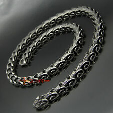 Men's Vintage Stainless Steel Dragon Snake Skin Bone Link Chain Necklace 24""