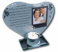 Mum and Dad - Inspirational poem, candle and photo holder glass memorial plaque