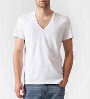 FREE Shipping BASIC Plain White DEEP  V NECK Cotton t-shirt top tee MEN S M L XL