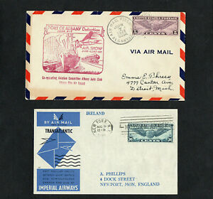 USA - 1932 & 1939 - TWO ILLUSTRATED AVIATION COVERS - WITH CDS POSTMARKS
