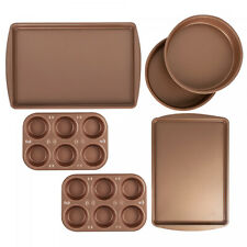 Bakeware Set Muffin Cake Cookie Pans 6 Pc Copper Nonstick Dishwasher Compatible