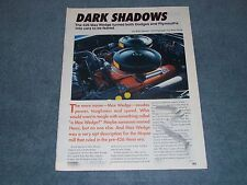 "426 Max Wedge Engine History Info Article ""Dark Shadows"" Dodge Plymouth Polara"