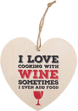 I Love Cooking With Wine Hanging Heart Sign - Wooden Shabby Chic Wall Plaques