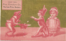 c1890 Providence Furniture Co RI Frog and Kids in Costume Victorian Trade Card