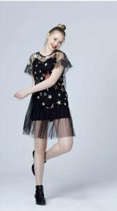 Womens Black Sheer Mesh Frill Sequin Star Size Medium Short Sleeve Short Dress