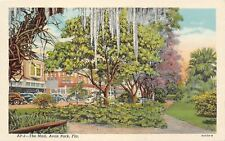 Avon Park Florida~The Mall~Shops~Spanish Moss Hangs From Trees~1938 Linen PC