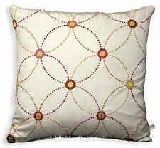 Jane Churchill Mezzo Embroidered Silk Lime Lilac Red Orange Cushion Pillow Cover