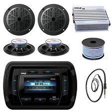 """5.25"""" Marine Speakers, Bluetooth USB Radio, 400W Amplifier,Antenna, Speaker Wire"""
