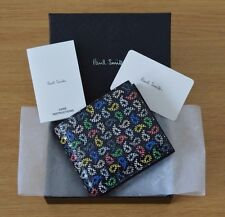 PAUL SMITH Mens Signature Stripe coloured paisley black leather wallet bill coin