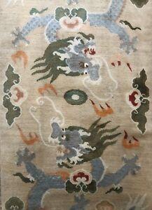 Antique Used Handmade Tibetan Art Deco Dragon Design Wool Wall Rug Size:6 Ft-3Ft