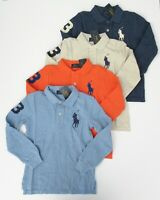 NWT Ralph Lauren Boys L/S Big Pony Solid Mesh Polo Shirt 8 10/12 14/16 18/20 NEW