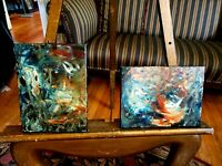 Pair Abstract/Modernist Oil Paintings