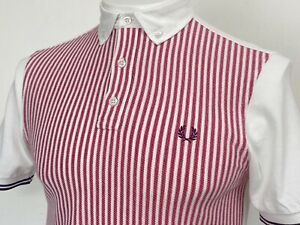 Fred Perry | Oxford Trim Striped Panel Polo Shirt S|M (White) Mod Scooter 60's