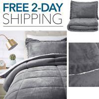 Velvet Bed Set Soft Comforter Pillow Sham Micromink Grey Twin Queen King Size
