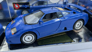 Bugatti EB110 diecast model sports road car blue 1991 1:18th scale Burago 3035