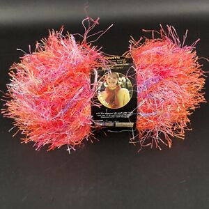 Lot of 2 LION BRAND FUN FUR PRINTS Yarn MANGO 1.5oz/57yds Each Eyelash Novelty